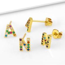 Dubai Gold Plated CZ Initial Letter Stud Earrings Jewelry Full Diamond a-Z Alphabet Earrings