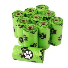 Home compostable no plastic  portable handsfree custom paw print logo 720 bags dog waste poop green sheep poop bag box
