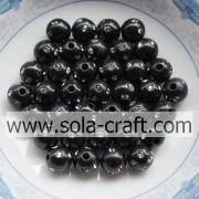 5MM Special Design Artificial Round Disco Dot Beads Black Color