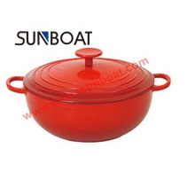Red Color Customized Enamel Casserole Cookware with Cover Houseware
