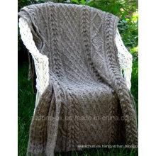 Custom Vintage New Design Hand Knit Manta tiro acrílico Merino