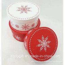 Navidad de impresión de nieve de caja redonda conjuntos de caja