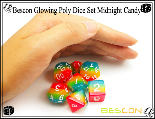 Bescon Glowing Poly Dice Set Midnight Candy-7