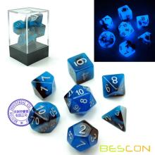 Set de dados polihedros Bescon Two-Tone de dos tonos BLUE DAWN, juego de dados luminosos RPG d4 d6 d8 d10 d12 d20 d% Brick Box Pack