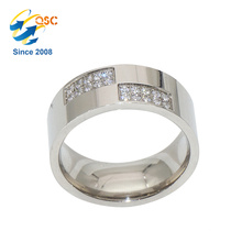Anneaux de bague de mariage en acier inoxydable de haute qualité de diamant d'or de mode
