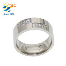 Fashion High Quality Diamond Gold Stainless Steel Wedding Ring Blanks