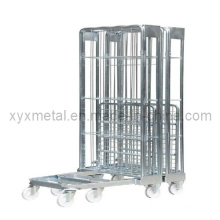 3 sides Nestable Folding ein Frame Movable Wire Mesh Container