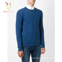 Camisola de Crewneck de Cashmere Crewneck com malha de homem, suéter de cashmere pesado