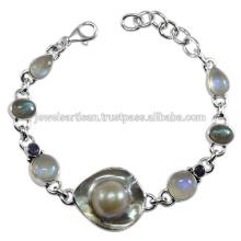 Blisterd Perle und Multi Edelstein 925 Sterling Silber Armband Schmuck