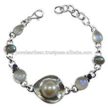Bijoux Blisterd Pearl And Multi Gemstone 925 Sterling Silver Bracelet
