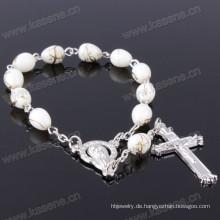Günstige hübsche Mutter der Glasperlen und Kreuz Rosenkranz Armband