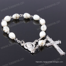 Cheap Pretty Mother of Glass Beads and Cross Rosary Bracelet