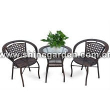 Outdoor Patio Wicker Furniture 3pc dining Set-glass top