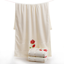 Serviettes de bain en coton brodé de style concis avec des fleurs