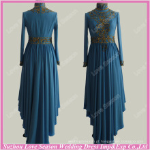 RP0079 Venda quente de roupas para mulheres muçulmanas, azul alto pescoço, manga comprida, ouro, contas, real, kaftan, vestido, muçulmano, casamento, vestido, imagens