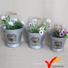 Set von 3 Wasser Eimer Blume arrangieren Vintage galvanisierten antiken Eimer