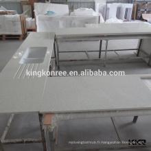 Dessus de comptoir en pierre de quartz blanc pur de cuisines modernes et dessus d'île