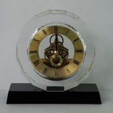 Black Base Crystal Glass Crafts Clock Gifts