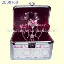 Nuevo estilo caja de joyería de aluminio con una bandeja y espejo interior