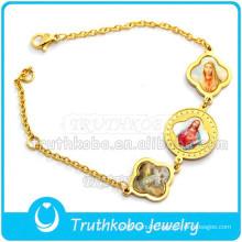 Christ Epoxy Medal Saint Bracele Stainless Steel Gold Bracelet Wholesale St. Benedict Holy Medal Bangle Religious Bracelet
