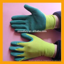 Pintura revestida de poliéster amarillo 13G Trabajando guantes de látex verde