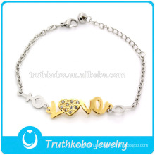 TKB-JB0007 Two tone best-selling 316L titanium steel bracelets & bangles with artifical diamond heart and word love for lovers
