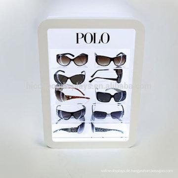 Custom Logo Desktop Acryl Material Led Beleuchtung 5-Tier Werbung Display Stand für Sonnenbrillen