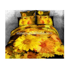 100% Cotton 3D Yellow Duvet Cover Bedding Set OEM Sunflower Design