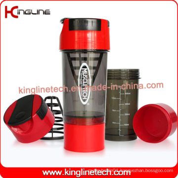 600ml Plastic Protein Shaker Bottle with Filter and Containers (KL-7008)