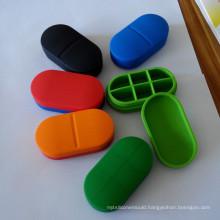 2016 Eco-Friendly Silicone Six Checks Medicine Box &Pill Case