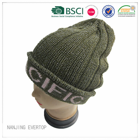 New Style Olive Jacquard Cuff Beanie