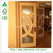 Porte battante en bois massif avec verre Porte française populaire