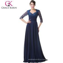 Grace Karin 2015 más nuevo vestido de noche formal de encaje largo azul marino con manga larga CL6234