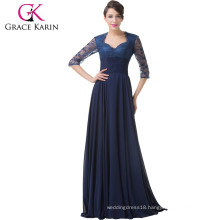 Grace Karin 2015 Newest Navy Blue Long Lace Formal Evening Dress With Long Sleeve CL6234
