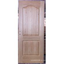 Porta moldada folheado arco-dada forma do carvalho de 2 painéis inacabado, portas interiores