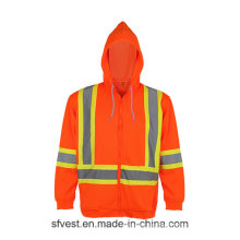 Sicherheit Reflektierende Hoch sichtbare Polar Fleece Jacke Sweatshirt