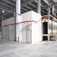 Sistema de revestimento em pó com cabine de pulverização e pré-tratamento de pulverização