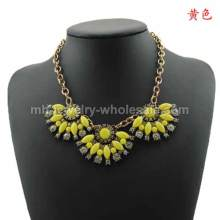 Alloy Pendant Sector Resin Rhinestone Charms Necklace