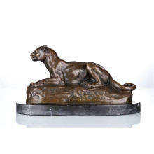 Animal Bronze Sculpture Leopard Decoration Craft Brass Statue Tpal-088