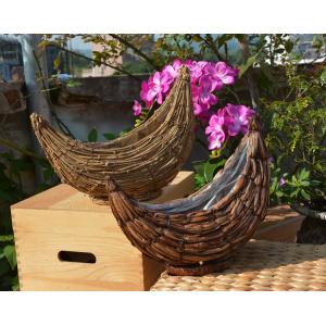 Weaving Rattan New Moon Flower Pot