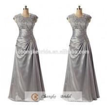 Robes de soirée de haute qualité Taffetas Plus Size Silver Applique Pattern Mère de la robe de mariée Custom Made