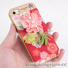 Musubi Kyoto Pink Flower Tassels red Cloth Coated 2 in 1 Hard Shell for iphone 5/5S