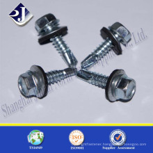 China supplier carbon steel zinc plated hex flange screw