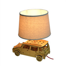 Taxi Fabric Lampshade Wooden Desk Lighting (KAM-YY99999)