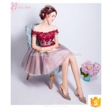 Intellektuelle rote kurze off-Schulter Prom neuesten Net Designs spanischen Stil Abendkleid