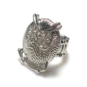 Fashion Jewelry New Costume clear white Crystal metal alloy big owl shaped Stretch Rings For Women rhodium plated