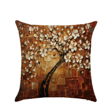 Fashion 3D Effect Digital Painting Trees Flowers Pillow Cover Linen Pillowcase Modern Painted Cushions Cover