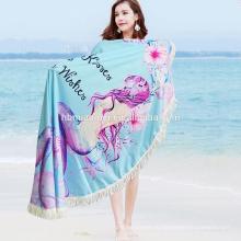 2017 Привышные высокое качество для взрослых и детей велюр печатных круглый пляжное полотенце с бахромой