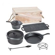 Cookware Set 7 Pcs Ferro Fundido Pré-Temperado Skillet Frigideira Grelha Forno Holandês