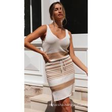 Summer 2020 Fashion Striped V-neck Open Back Lace Up Irregular Women's Dress
